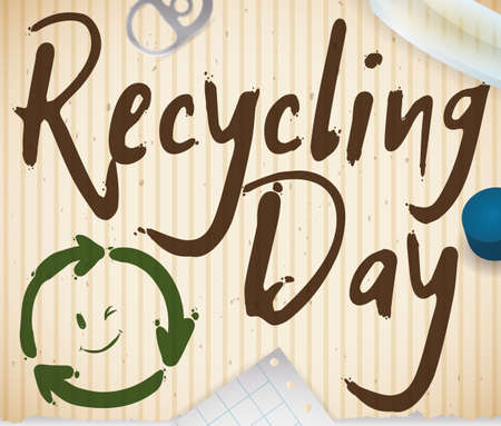 Recycled cardboard with smiling recycling arrows and some elements susceptible to recycle scattered around it: paper, glass, ring pull can and plastic cap, promoting the Recycling Day activities.