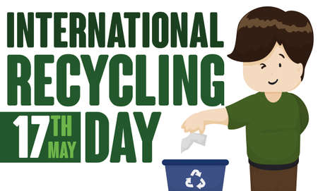 Banner with a young man disposing properly paper in the correct bin promoting International Recycling Day celebration in May 17.