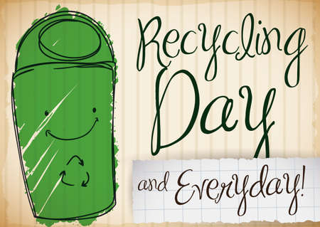 Cute smiling recycle bin doodle drawn over recycled cardboard celebrating Recycling Day and inviting you to recycle everyday.