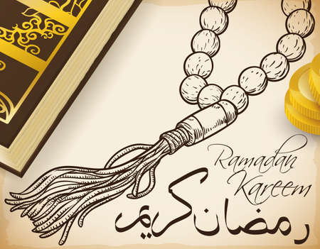 Hand drawn masbaha (string of beads), coins for charity and holy Quran book: traditional elements for the celebration of Ramadan with greetings (written in Arabic calligraphy).