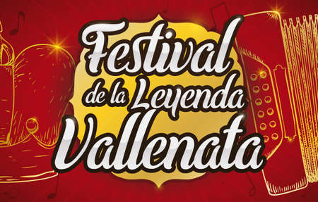 Banner with crown and accordion in hand drawn style with golden outlines and golden sign promoting the Vallenato Legend Festival (written in Spanish) and the Kings of Kings contest.