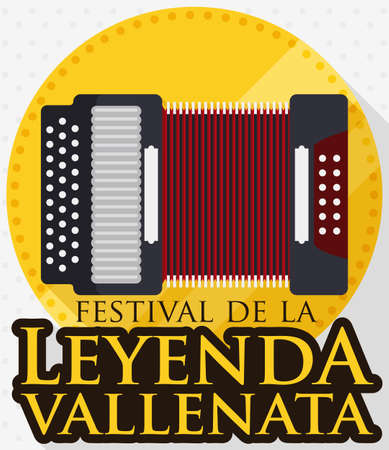 Design in flat style for the first place: gold medal award with accordion design for the king or winner of Vallenato Legend Festival (written in Spanish).