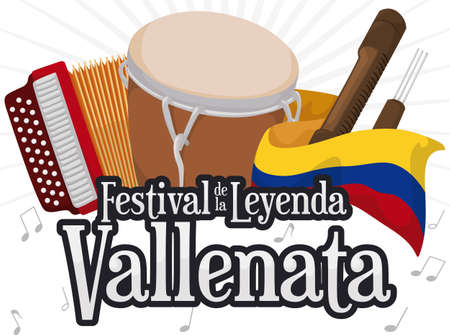 Traditional instruments for Vallenato Legend Festival (written in Spanish): accordion, caja vallenata drum, guacharaca, fork behind Colombian flag for this musical celebration. 일러스트