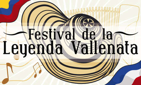 Banner with Colombia and Valledupar flags, musical notes, accordion and vueltiao hat; traditional elements for Colombian Vallenato Legend Festival (written in Spanish).