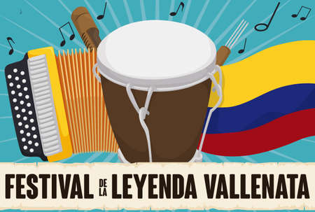 Musical instruments for Vallenato Legend Festival (written in Spanish) behind scroll: yellow accordion, caja vallenata, guacharaca, fork, Colombian flag and musical notes.