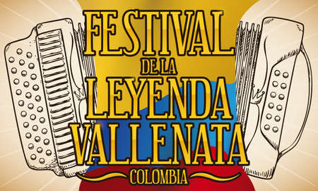 Banner in retro style with a traditional tree-line button accordion in hand drawn style, waving Colombian flag and golden sign to celebrate Vallenato Legend Festival (written in Spanish).