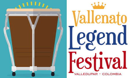 Banner in flat style with caja vallenata (small drum) ready to celebrate the Colombian Vallenato Legend Festival.