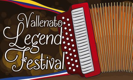 Banner with night celebration of Vallenato Legend Festival in Colombia with a traditional accordion and ribbons like Colombia and Valledupar flags.
