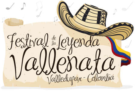 """Banner with """"sombrero vueltiao"""" -or turned hat- with greeting sign in scroll and Colombia flag over a background with musical notes for Vallenato Legend Festival (written in Spanish)."""