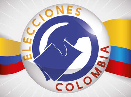 Round button with silhouette voter hand making its vote, decorated with tricolor flag in the background for Colombian Elections (written in Spanish).