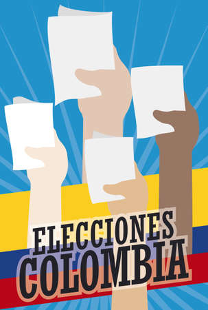 Design in flat style with crowd of people making their vote in Colombian Elections event (written in Spanish). Illusztráció
