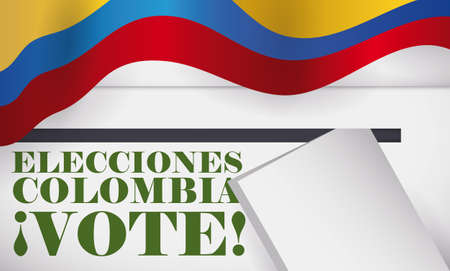 Banner in top view with white voting box, electoral card and Colombian flag promoting to vote in elections event (written in Spanish).