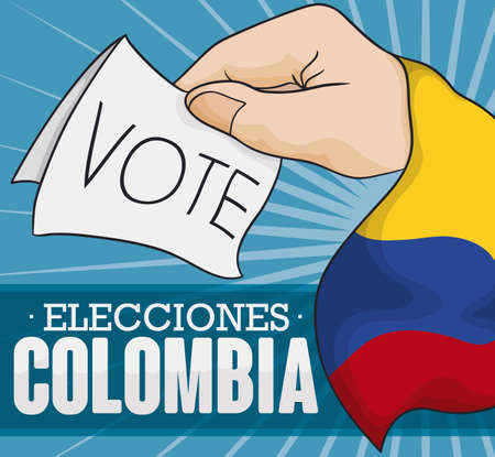 Hand with Colombian flag holding a vote for electoral contest in Colombia (texts written in Spanish). Illusztráció