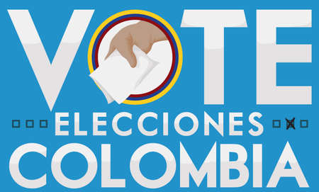 Promotional banner to suffrage in Colombian Elections with hand holding the electoral card and voting (texts in Spanish).