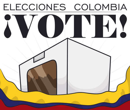 Poster with white voting box behind waving Colombian flag, promoting to vote in Electoral event (written in Spanish). 矢量图像