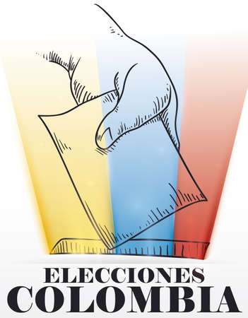 Hand drawn design with hand depositing the vote and Colombian flag glows from the hole to promote Colombian Elections (written in Spanish).