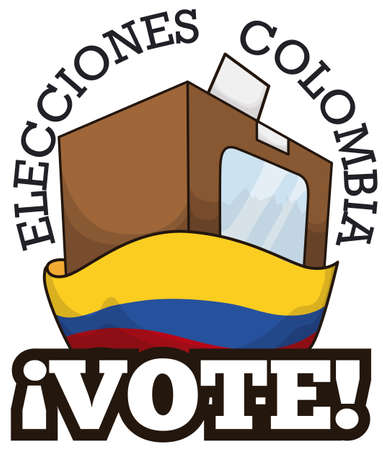 Voting urn with a electoral card behind Colombian flag for elections in this country (texts written in Spanish).