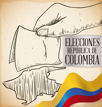 Hand drawn design with hand holding a electoral card and depositing in urn hole like Colombian map, promoting to vote in Colombia elections contest (written in Spanish in the silver label).