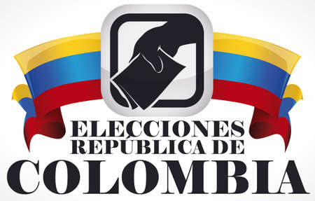 Poster with squared buttons with silhouette of voter hand and electoral card and ribbons like Colombian flag for Elections contest (written in Spanish).
