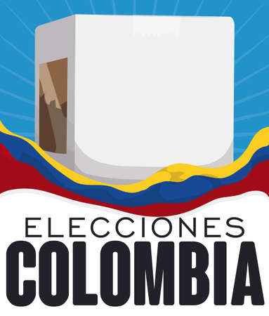 Poster with white voting box and a Colombian flag waving around it promoting electoral event in this country (texts written in Spanish). Vektoros illusztráció