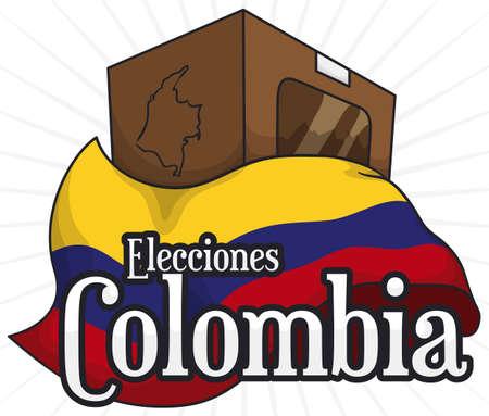 Voting urn in paperboard and map with Colombian flag ready for national elections (written in Spanish).
