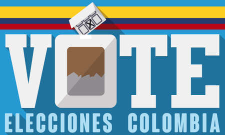 Banner in flat style to promote electoral process in Colombia (written in Spanish) with flag, electoral box and card with candidate chosen. 向量圖像