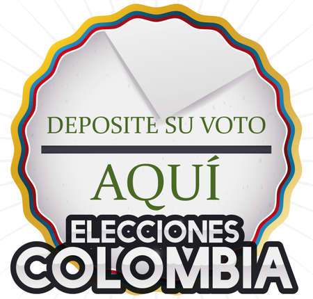 Poster with round button decorated with tricolor ribbon and hole like electoral urn and vote promoting Colombian Elections event (written in Spanish).