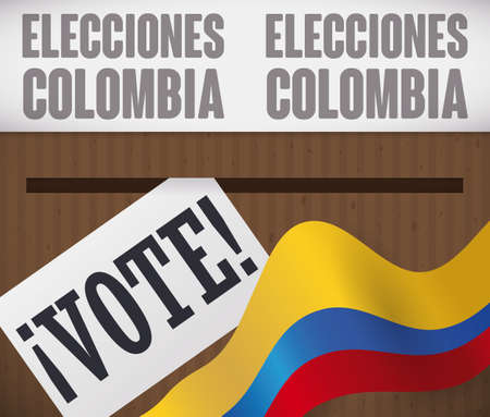 Top view of a voting box in cardboard with tape, vote and Colombian flag sliding through it for elections event (texts written in Spanish). Ilustração