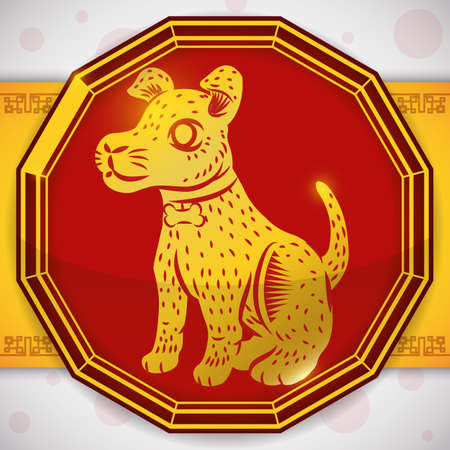 Chinese Zodiac design with a cute dog in golden silhouette over a red button and golden ribbon with pattern.