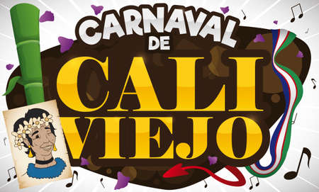 Festive design for Cali Viejo Carnival (written in Spanish) event: sugarcane, petals, musical notes, flag, devil's tail and Jovita portrait in a scroll. Illustration