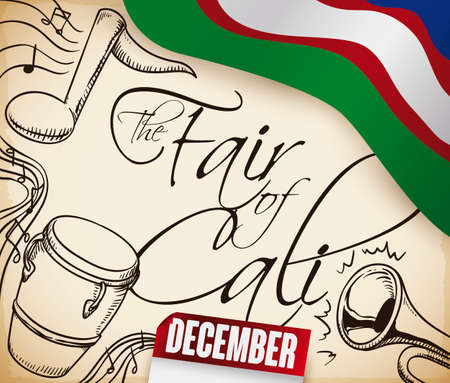 Fair of Cali design with flag of this city, reminder calendar and scroll with traditional salsa instruments drawn: music notes, conga and trumpet.
