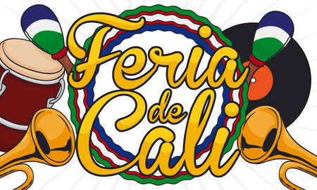 Traditional vinyl record, label with Cali's flag colors, salsa instruments ready for Feria de Cali (written in Spanish) celebration: trumpets, maracas and conga drum.