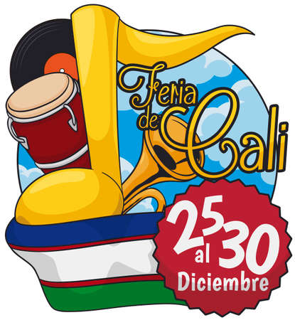 Button with sky view and instruments to be played during Feria de Cali (written in Spanish), vinyl record that gather the salsa collectionist, flag and label with the date for this fair.