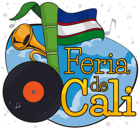 Sky view with vinyl, sugarcane and Cali's Flag like musical note and decorative trumpet promoting the Feria de Cali (written in Spanish) celebration.