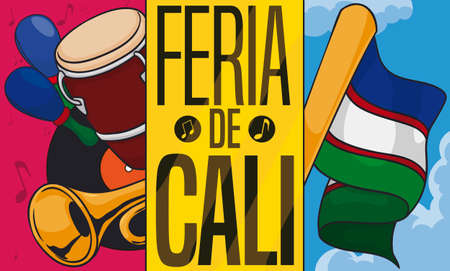 Promotional banner with Cali's flag and traditional salsa instruments ready to be played during Feria de Cali (written in Spanish): drum, trumpet, maracas and vinyl.