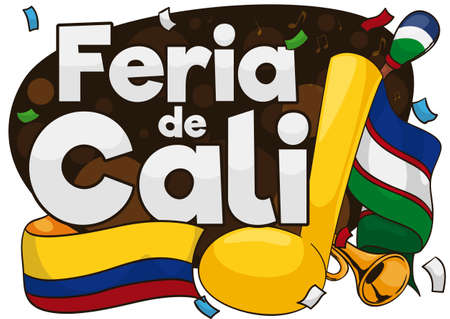 Festive design with trumpet, maracas, streamers and flags promoting the Feria de Cali (Cali Fair in Spanish), with the traditional party full of music and joy  イラスト・ベクター素材