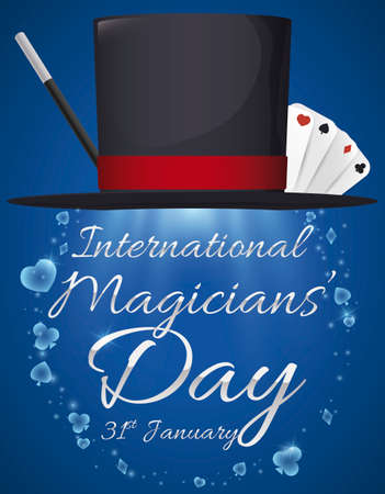 Magician hat ready to celebrate its day this 31st January with the traditional magic wand and the playing cards: hearts, diamonds -or tiles-, clubs -clovers- and spades -pikes-. Vektoros illusztráció
