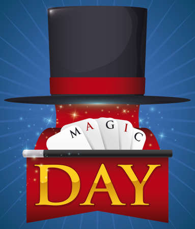 Poster with floating top hat, unfolding an infinite red ribbon, a wand and cards with greeting message for Magic Day celebration.