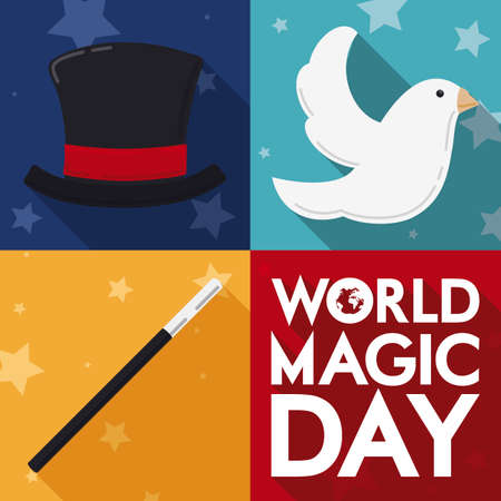 Traditional basic set to perform a trick during World Magic Day in flat style and long shadow: magician top hat, magic wand and dove. Ilustração