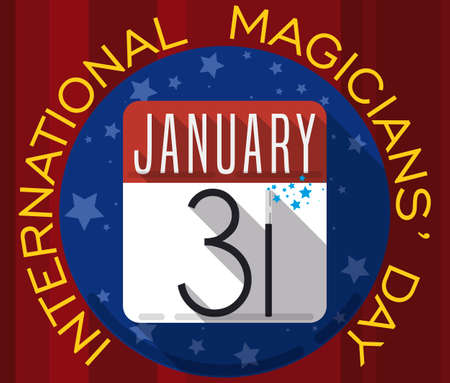 Flat design and long shadow with red curtain presenting a round button with a loose-leaf calendar and magic wand inside of it, reminding at you the date for International Magicians' Day: January 31.