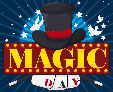 Poster announcing Magic Day with a magician hat, rabbit and dove tricks, stars, magic wands, cards and a luminous board promoting a lot of fun in this commemorative show. Иллюстрация