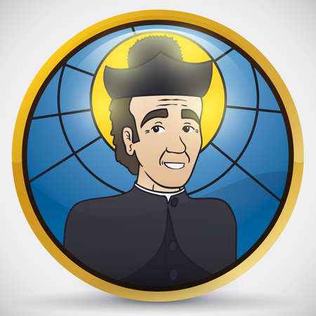 Round button with stained glass effect and Saint John Bosco portrait, patron of the stage magicians and illusionists.