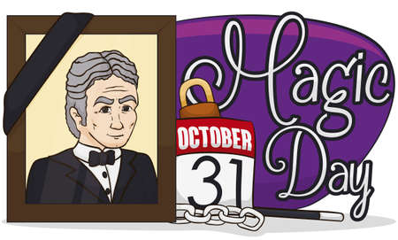 Commemorative banner honoring the great magician, Harry Houdini with a portrait with black ribbon, chains, padlock, magic wand and a calendar with the date of its death, now known as Magic Day.
