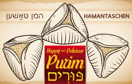 Banner in hand drawn style with delicious Hamantaschen (written in Yiddish): a traditional Jewish delicatessen for Purim (written in Hebrew) celebration.