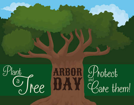 Landscape with strong tree, promoting the tree planting, care and protection with the nature for Arbor Day event.