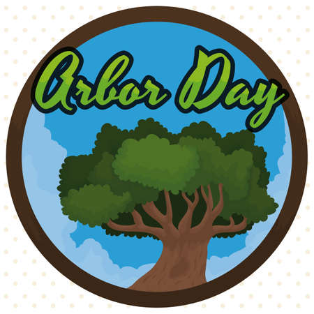 Round button with cloudscape and a tree to commemorate Arbor Day.