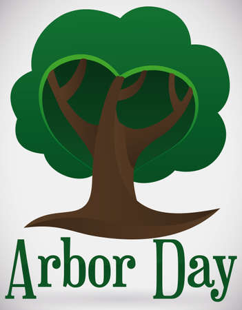 View of isolated tree with abstract heart shape and greeting text to promote Arbor Day celebration.