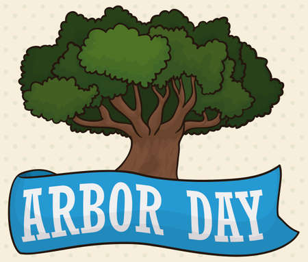 Poster with dotted pattern and a tree decorated with a blue greeting ribbon for Arbor Day celebration.