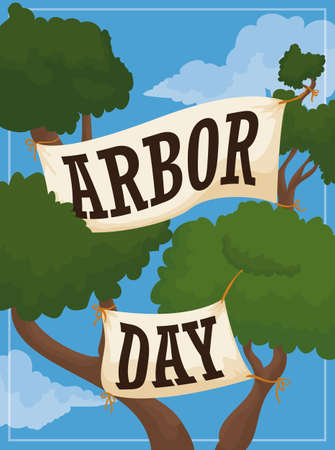 Poster with tall tree branches that reach the clouds with greeting signs commemorating Arbor Day.
