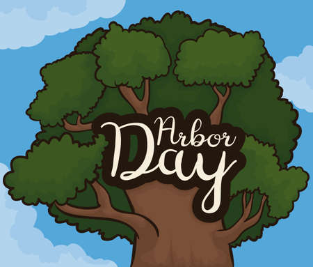 Beautiful view from beneath of a tree and a cloudscape for Arbor Day celebration. Ilustrace